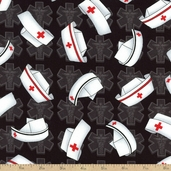 Calling All Nurses Cap Toss Cotton Fabric - Black