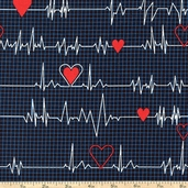 Calling All Nurses Heart Monitor Cotton Fabric - Black