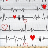 Calling All Nurses Heart Monitor Cotton Fabric - White