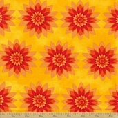 Calypso Cotton Fabric - Floral Starburst Tang