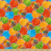 Calypso Cotton Fabric - Packed Leaf Citrus
