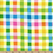 Calypso Gingham Cotton Fabric - Multi MAS714-Z