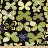 Camo Mix Butterfly Cotton Fabric - Black / Green