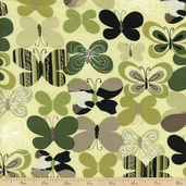 Camo Mix Butterfly Cotton Fabric - Green