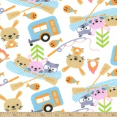 Camp Heaven Flannel Fabric - White
