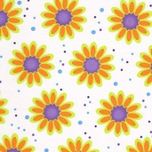 Carnival Large Daisy Cotton Fabric - Orange