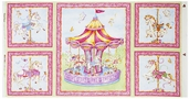 Carousel Dreams Cotton Fabric Panel - Pink - CLEARANCE