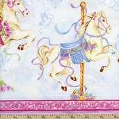 Carousel Dreams Pony Stripe Cotton Fabric - Pink