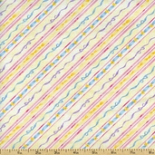 Carousel Dreams Ribbon Stripe Cotton Fabric - Yellow