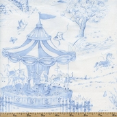 Carousel Dreams Scenic Cotton Fabric - Blue - CLEARANCE