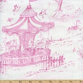 Carousel Dreams Scenic Cotton Fabric - Pink - Clearance