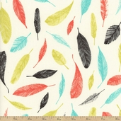 Carried Away Feathers Cotton Fabric - Sundance