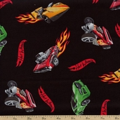 Cars & Flames Cotton Fabric - Black HW-0005-1B