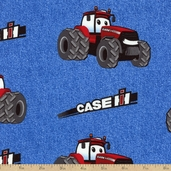 Case IH Kid's Denim Allover Cotton Fabric - Blue