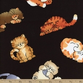 Cat Toss Cotton Fabric - Black