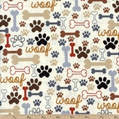 Cats and Dogs Bones & Paw Prints Cotton Fabric - Cream