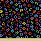 Cats and Dogs Cotton Fabric - Paw Prints - Multi