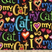 Cats and Dogs I Love My Cat Cotton Fabric - Black