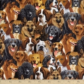 Cats and Dogs Small Packed Dogs Cotton Fabric - Natural
