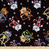 Cats and Dogs X-Ray Kitties Cotton Fabric - Black