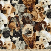 Cats Dogs Chickens Beautiful Dogs Cotton Fabric - Brown - Clearance