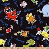 Celebrate Seuss 4 Friends Toss Cotton Fabric - Black