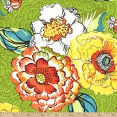Cha Cha Large Floral Cotton Fabric - Green