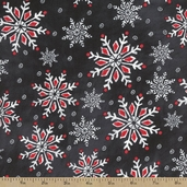 Chalkboard Christmas Snowflake Cotton Fabric - Grey