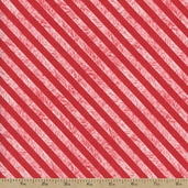 Chalkboard Christmas Stripe Cotton Fabric - Red