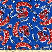 Champion Hockey Flannel Fabric - Blue 21552