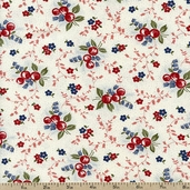 Charlevoix Floral Berries Cotton Fabric - Sand 14692-11
