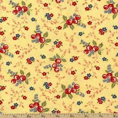 Charlevoix Floral Berries Cotton Fabric -Yellow 14692-18