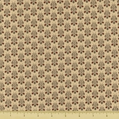 Chateau Rouge Floral Flatetta Cotton Fabric - Tan 13628-13