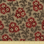 Chateau Rouge Floral Toussaint Cotton Fabric - Grey 13623-12