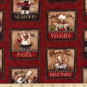 Chef Cotton Fabric - Red ALS-11740-3 RED