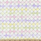 Cherished Memories Grid Cotton Fabric - Pastel