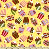 Cherry on Top Cotton Fabric - Cupcake Toss - Yellow 32702-15