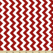 Chevron Cotton Fabric - Small Zig Zag - Red C340-80