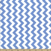 Chevron Small Cotton Fabric - Medium Blue C340-22