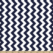 Chevron Small Cotton Fabric - Navy C340-21