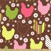 Chick Chick Cotton Fabric - Summer - Rooster Motif