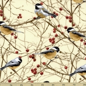 Chickadees Cotton Fabric - Nature C7206