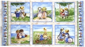 Childhood Memories Couple Panel Cotton Fabric - Cream 1469 CREAM