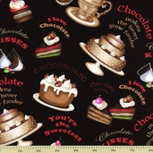 Chocoholic Cake Cotton Fabric - Black 3923-60591-8