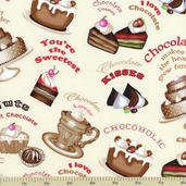Chocoholic Cake Cotton Fabric - Cream 3923-60591-900