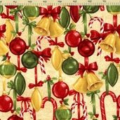 Christmas At Home Ornament Toss Cotton Fabric - Ivory