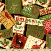 Christmas At Home Packed Signs Cotton Fabric - Black