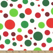 Christmas Big Dots Cotton Fabric - White