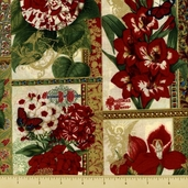 Christmas Botanical Cotton Fabric - Floral Frames - Cream Gold