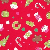 Christmas Candy Cotton Fabrics - Red